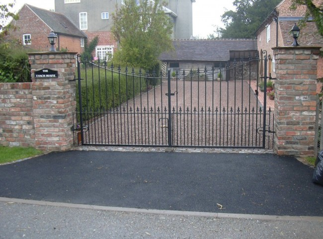 Brick Pillars and Wrought Iron Gate