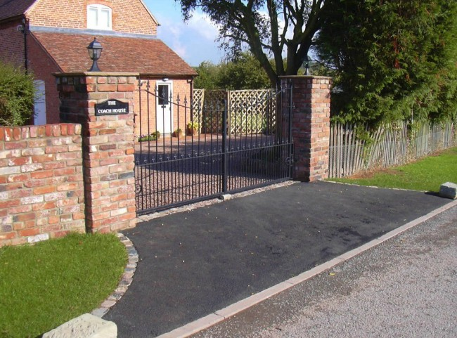 Brick Pillars and Wrough Iron Gate