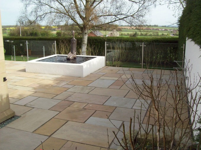Natural Stone Paving Patio with Contemporary Water Feature